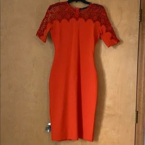 Zara Women Orange/Red sheath dress Sz  XS